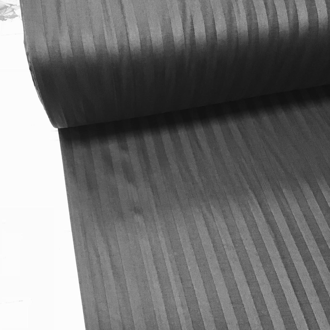 Сатин 100% хлопок  (ТУРЦИЯ шир. 2,4 м) Stripes графитовый ОТРЕЗ( 1,75*2,4)