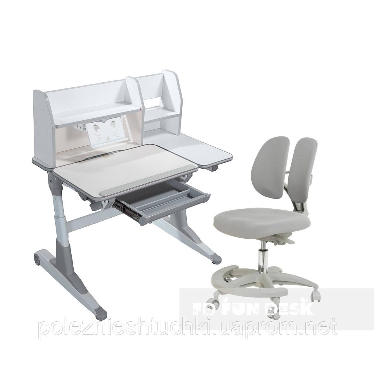 Комплект для школьников Fundesk парта Magico Grey+подростковое кресло Primo Grey