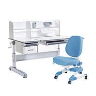 Растущий комплект для школьника парта FunDesk Libro Grey+ ортопедическое кресло Buono Blue, фото 1
