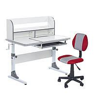 Растущий комплект для школьников парта Cubby Nerine Grey + компьютерное кресло LST4 Red-Grey, фото 1