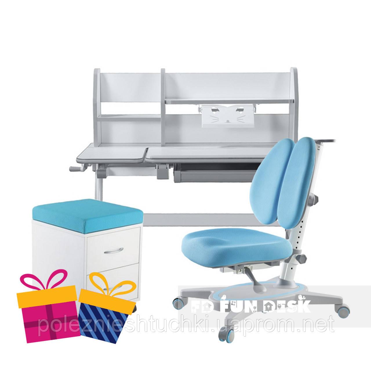 Комплект для школьников Fundesk парта Magico Grey + ортопедическое кресло Primavera II Blue+тумбочка SS15W