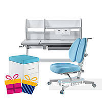 Комплект для школьников Fundesk парта Magico Grey + ортопедическое кресло Primavera II Blue+тумбочка SS15W, фото 1