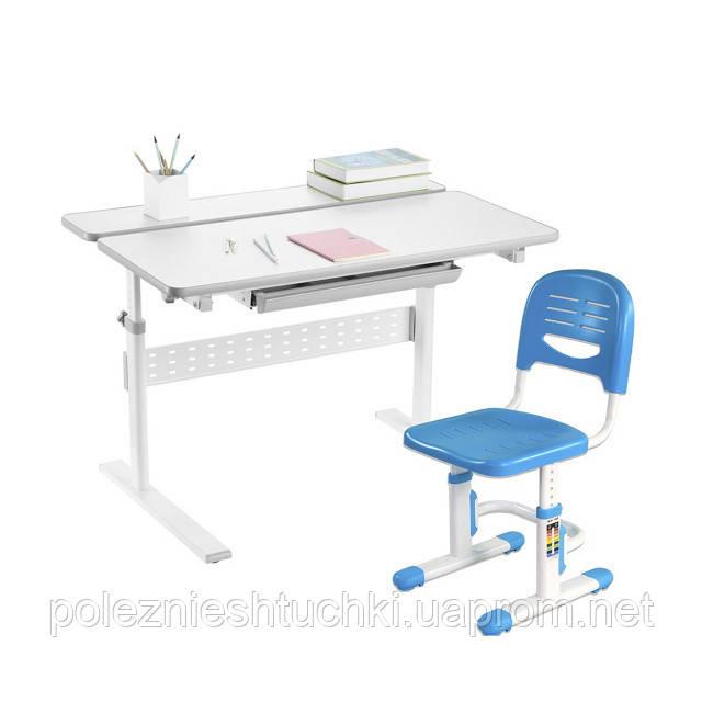Комплект-трансформер Fundesk парта Colore Grey + стульчик SST3 Blue