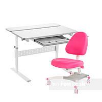 Комплект парта Colore Grey + подростковое кресло для дома Ottimo Pink FunDesk, фото 1