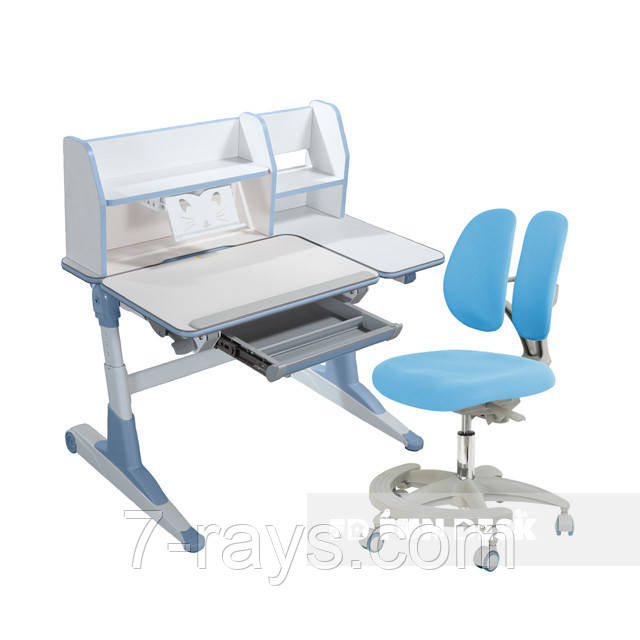 Комплект для школьников Fundesk парта Magico Blue+подростковое кресло Primo Blue