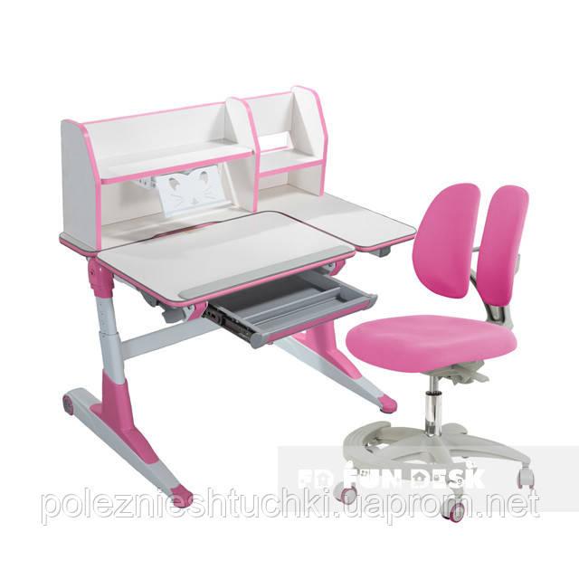 Комплект для школьников Fundesk парта Magico Pink+подростковое кресло Primo Pink