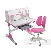 Комплект для школьников Fundesk парта Magico Pink+подростковое кресло Primo Pink, фото 1