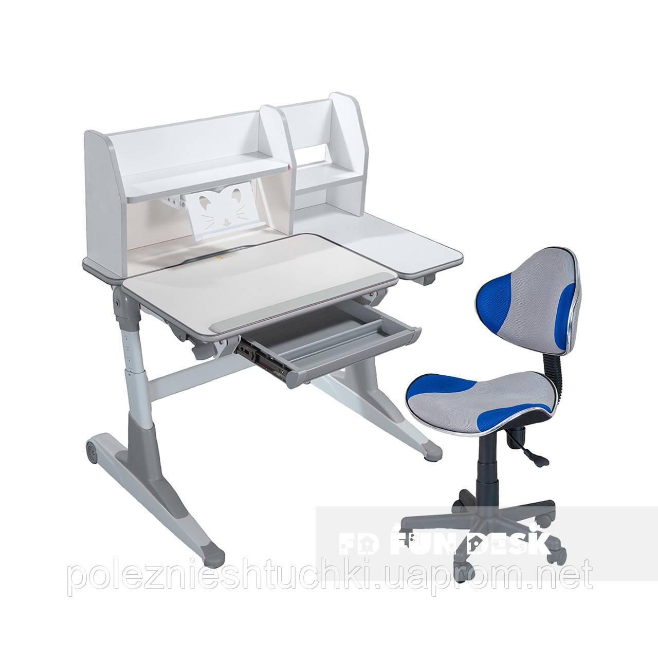 Комплект для школьников Fundesk парта Magico Grey+кресло LST3 Blue-Grey