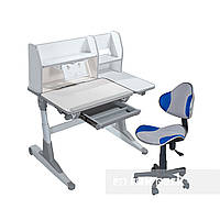 Комплект для школьников Fundesk парта Magico Grey+кресло LST3 Blue-Grey, фото 1