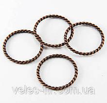 Коннектор кольцо Витое медь 25х21 мм
