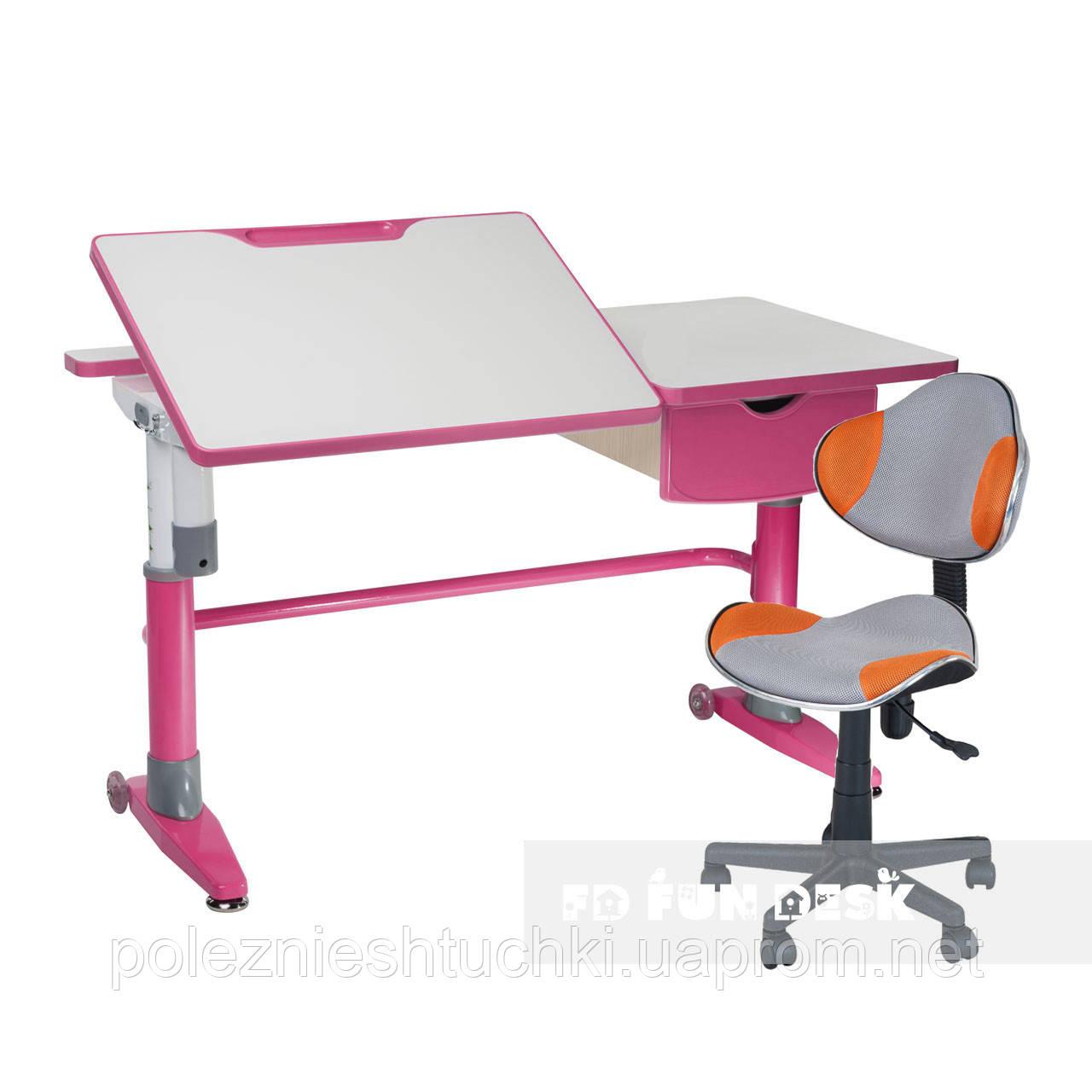Комплект парта-трансформер Ballare Pink с выдвижным ящиком+детское кресло LST3 Orange-Grey FunDesk