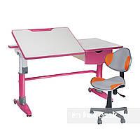 Комплект парта-трансформер Ballare Pink с выдвижным ящиком+детское кресло LST3 Orange-Grey FunDesk, фото 1