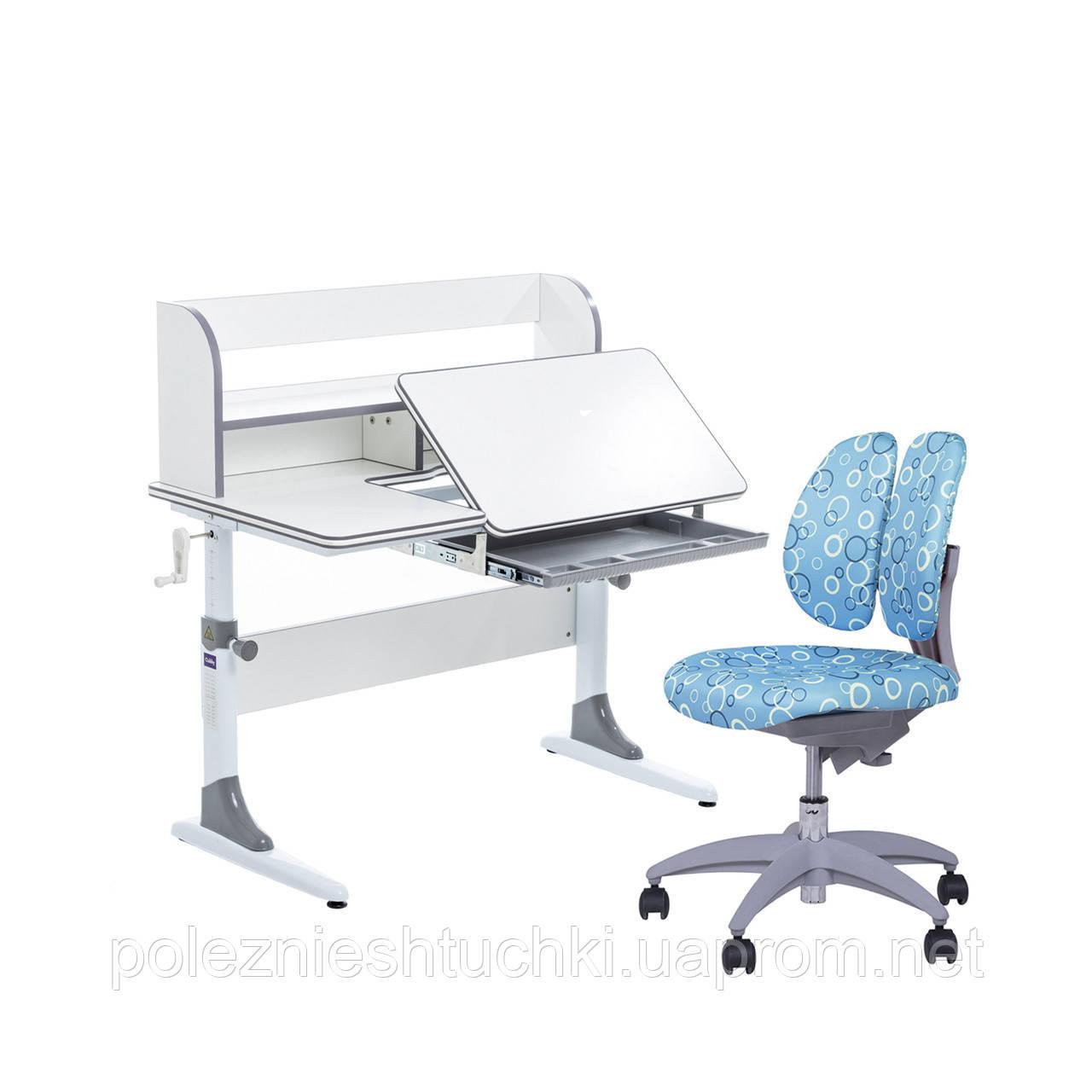 Растущий комплект для школьников парта Cubby Nerine Grey + детское кресло  SST9 Blue FunDesk