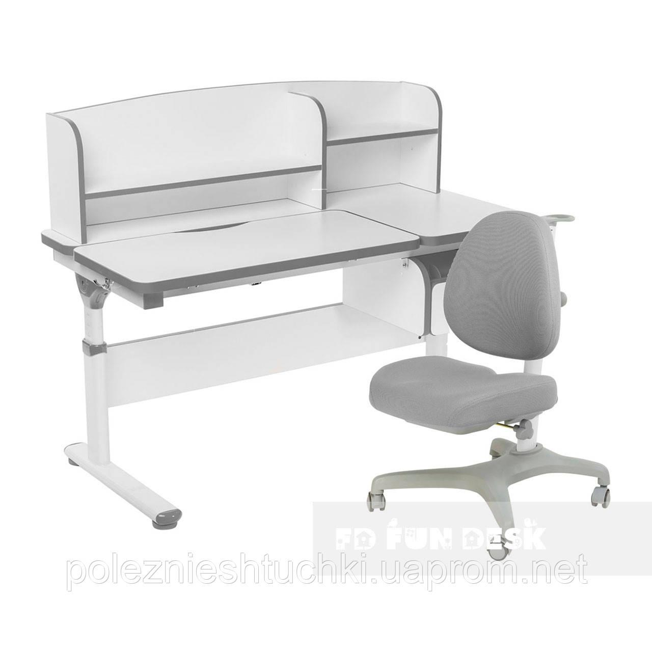 Комплект парта с надстройкой Creare Grey и ящиком + подростковое кресло Bello I Grey FunDesk