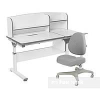 Комплект парта с надстройкой Creare Grey и ящиком + подростковое кресло Bello I Grey FunDesk, фото 1