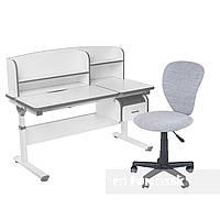 Комплект парта с надстройкой Creare Grey и ящиком + детское компьютерное кресло LST2 Grey FunDesk, фото 1