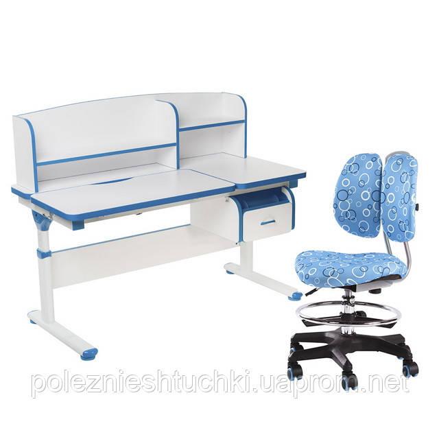Комплект парта с надстройкой Creare Blue и ящиком + детское ортопедическое кресло SST6 Blue FunDesk