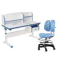 Комплект парта с надстройкой Creare Blue и ящиком + детское ортопедическое кресло SST6 Blue FunDesk, фото 1