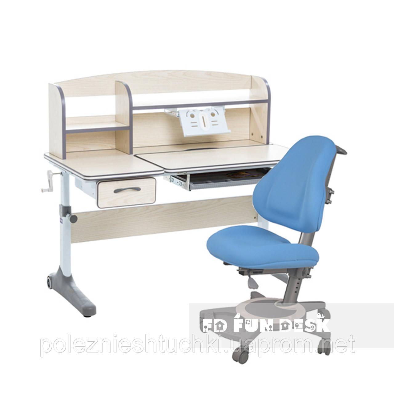 Комплект для школьников растущая парта Cubby Ammi Grey+ортопедическое кресло FunDesk Bravo Blue