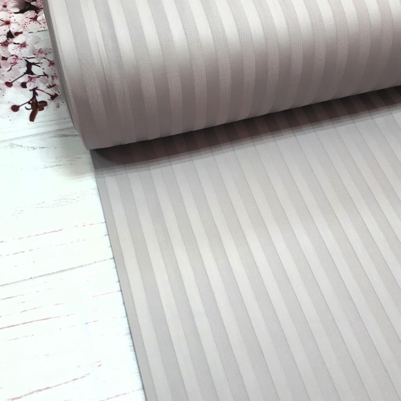 Сатин 100% хлопок  (ТУРЦИЯ шир. 2,4 м) Stripes серый ОТРЕЗ(0,4*2,4м)