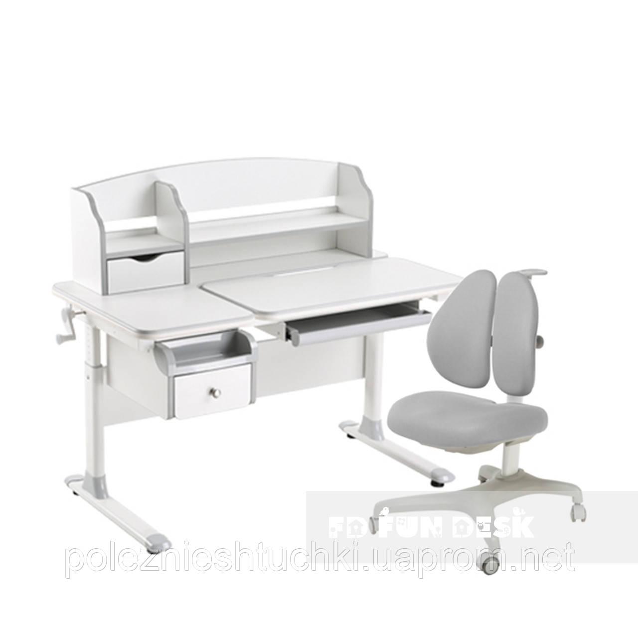 Комплект стол-трансформер  Sognare Grey + подростковое кресло Bello II Grey FunDesk