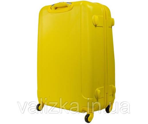 Большой пластиковый чемодан на 4-х колесах с фурнитурой в цвет желтый, фото 2