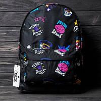 """Городской молодежный Рюкзак, портфель с принтом """"Fresh Brains"""" стильный черный из текстиля, спортивный"""