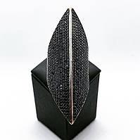 Кільце перстень подовжений з срібла 925 Beauty Bar з чорними каменями сваровськи (розм.18.5-19 мм), фото 1
