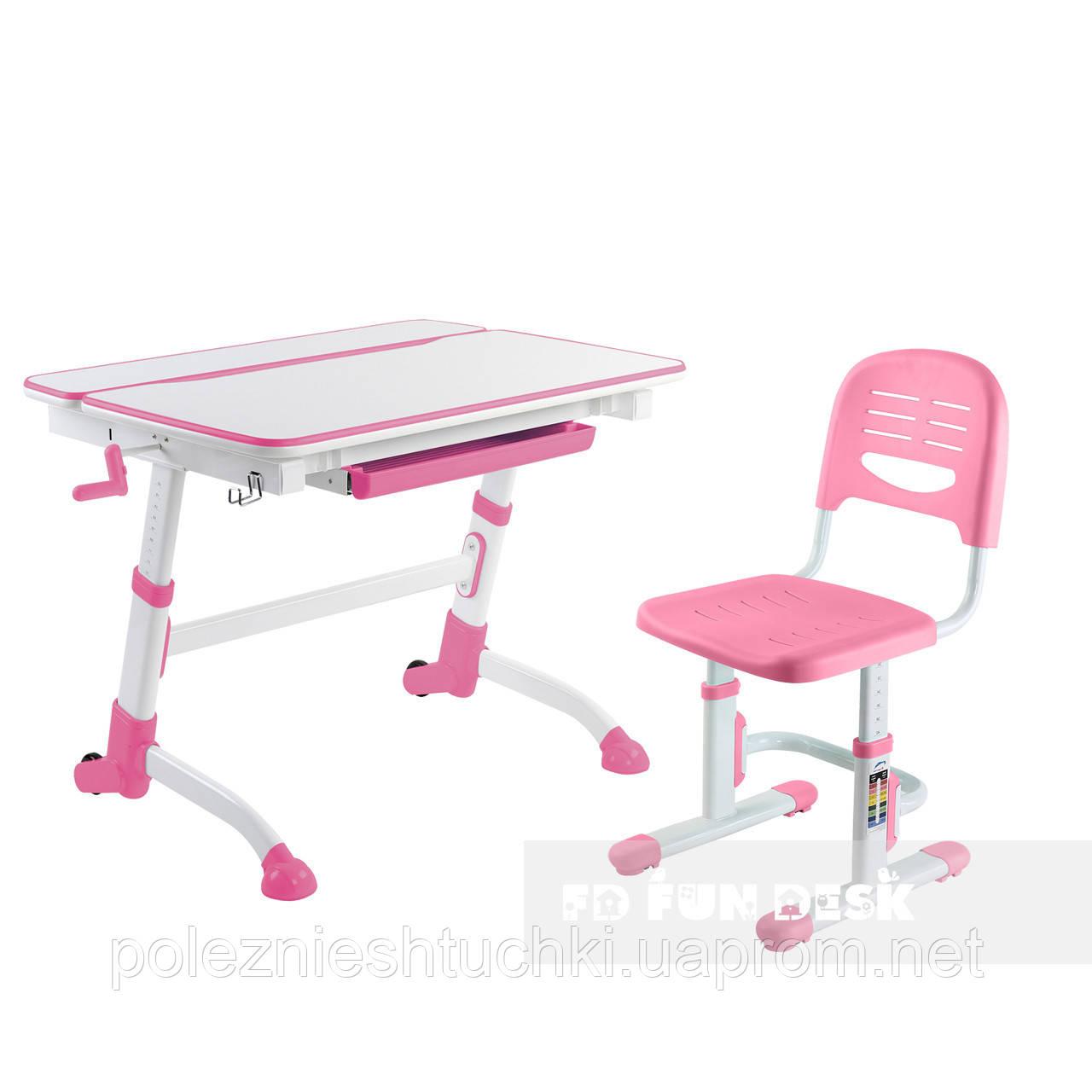 Растущая парта-трансформер FunDesk Volare Pink+ Детский стул SST3 Pink