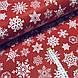 Ткань поплин белые снежинки на красном (ТУРЦИЯ шир. 2,4 м) №32-111 ОТРЕЗ(0,7*2,4), фото 2