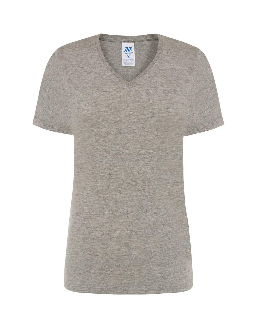 Женская футболка JHK COMFORT V-NECK LADY цвет темно-серый меланж (GM)
