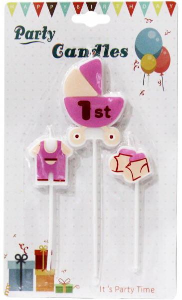 "Свечи для торта ""Коляска розовая""."