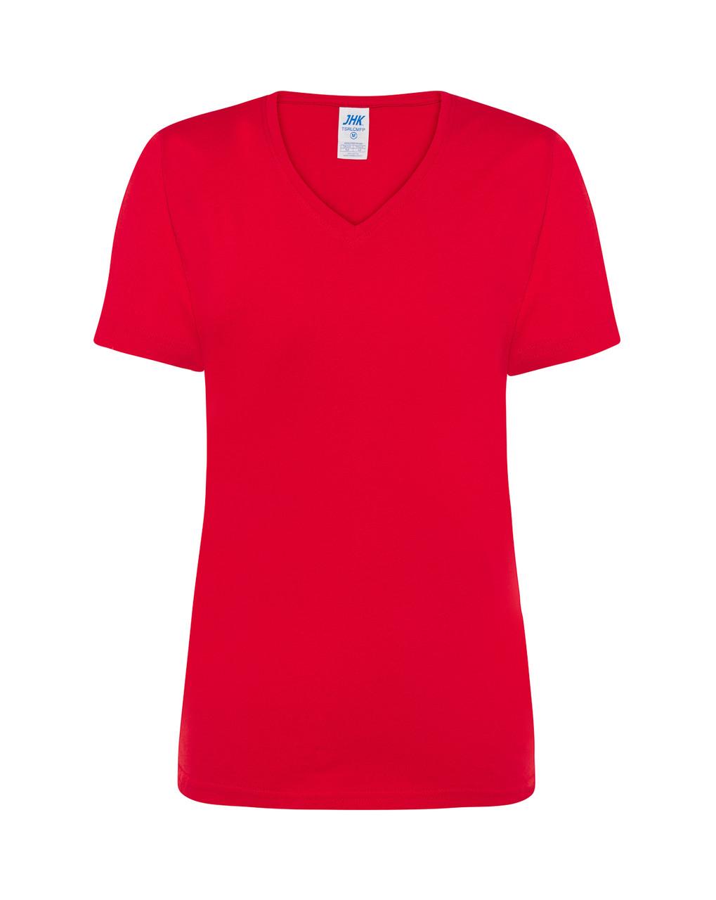Женская футболка JHK COMFORT V-NECK LADY цвет красный (RD)