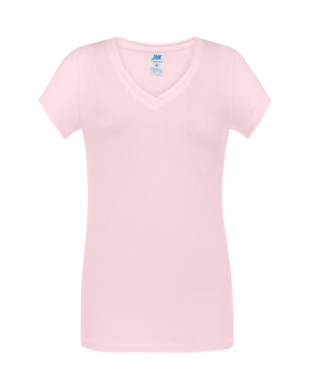 Женская футболка JHK COMFORT V-NECK LADY цвет розовый (PK)