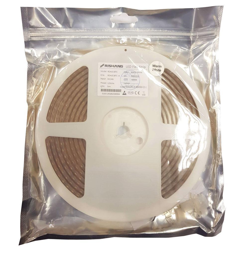 Світлодіодна стрічка біла тепла 3000K 12Вт 24вольт RDA2C8TC-A 2835-128-IP67-NW-10-24 12985п