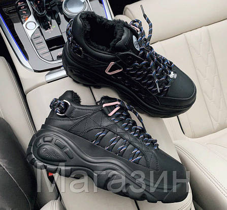 Зимние женские кроссовки на платформе Buffalo London Black Буффало Лондон черные С МЕХОМ, фото 2