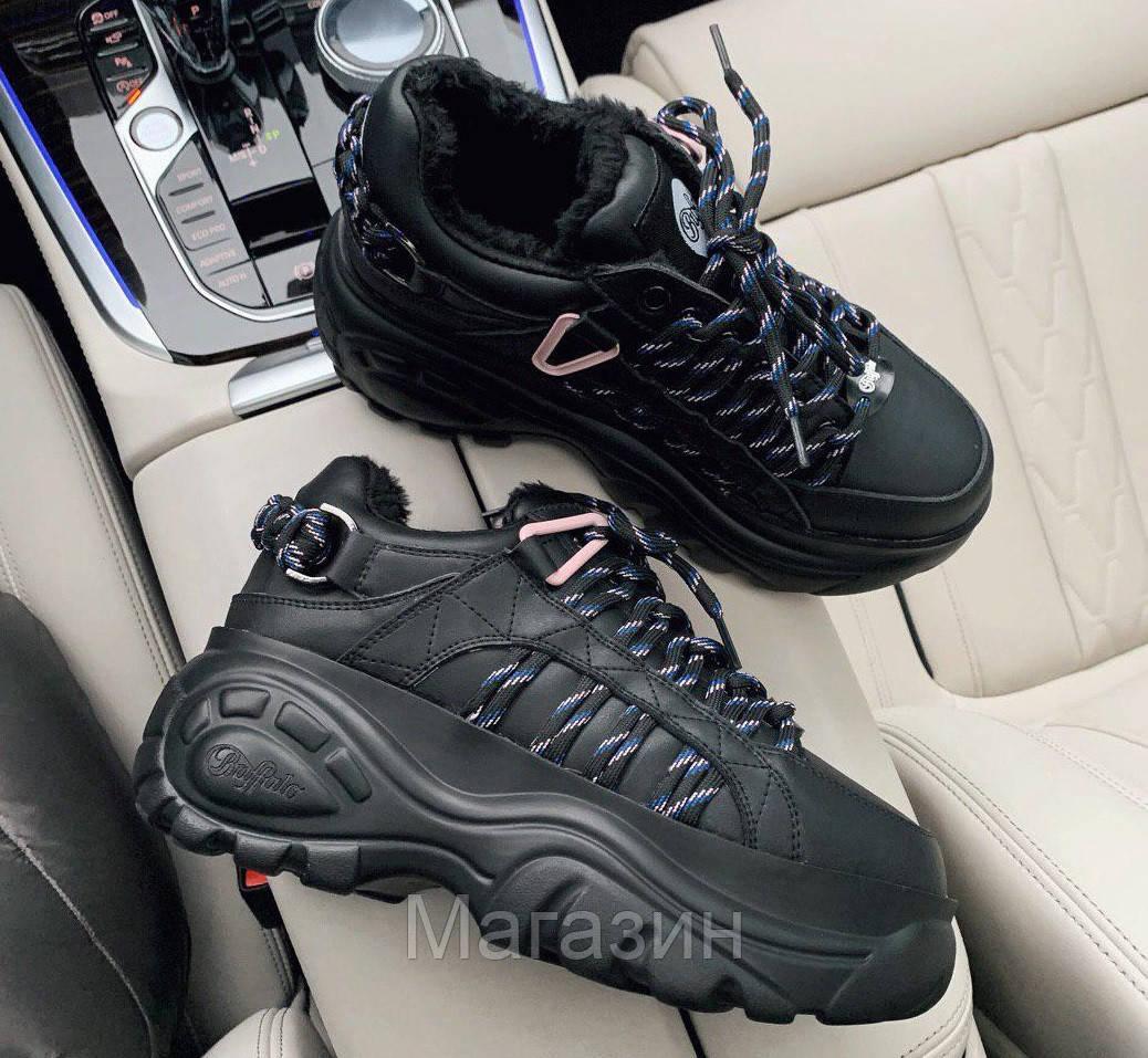 Зимние женские кроссовки на платформе Buffalo London Black Буффало Лондон черные С МЕХОМ
