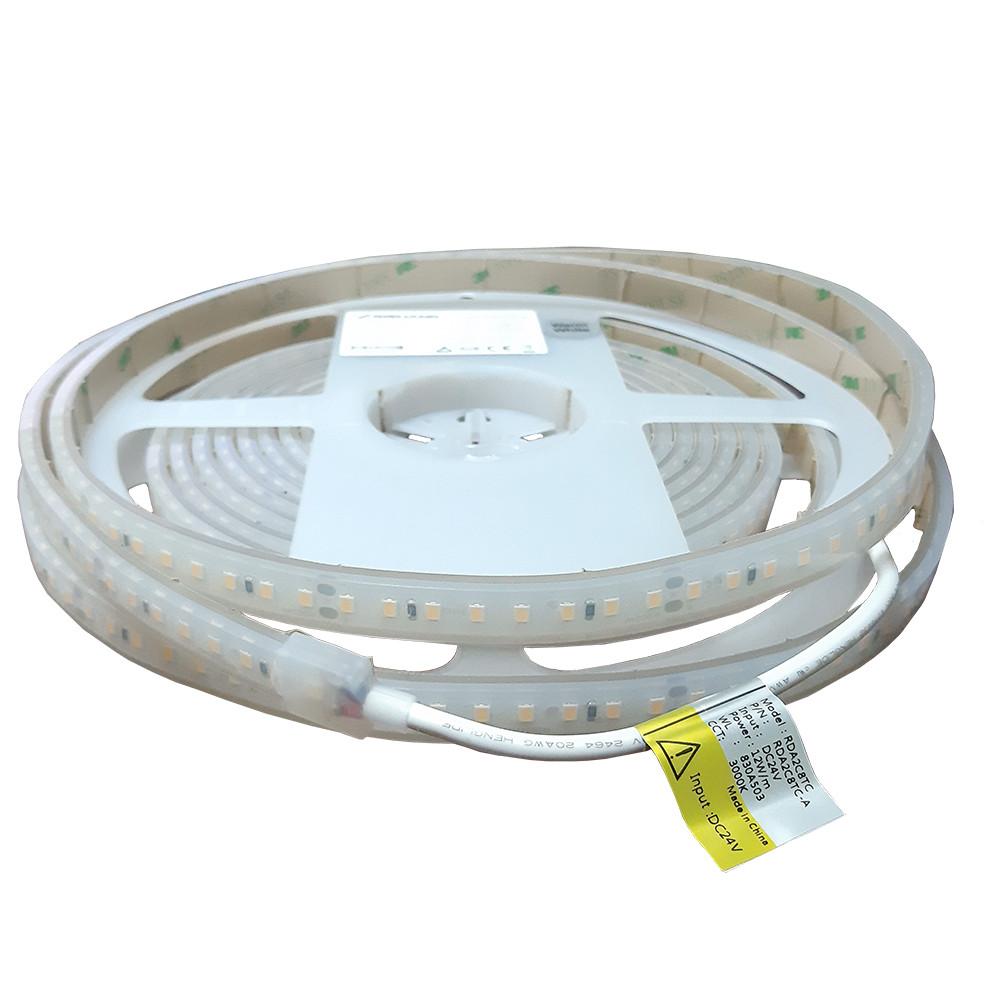 Світлодіодна стрічка біла тепла 3000K CRI80 12Вт 24вольт  RDA2C8TC-A 2835-128-IP67-NW-10-24 12985