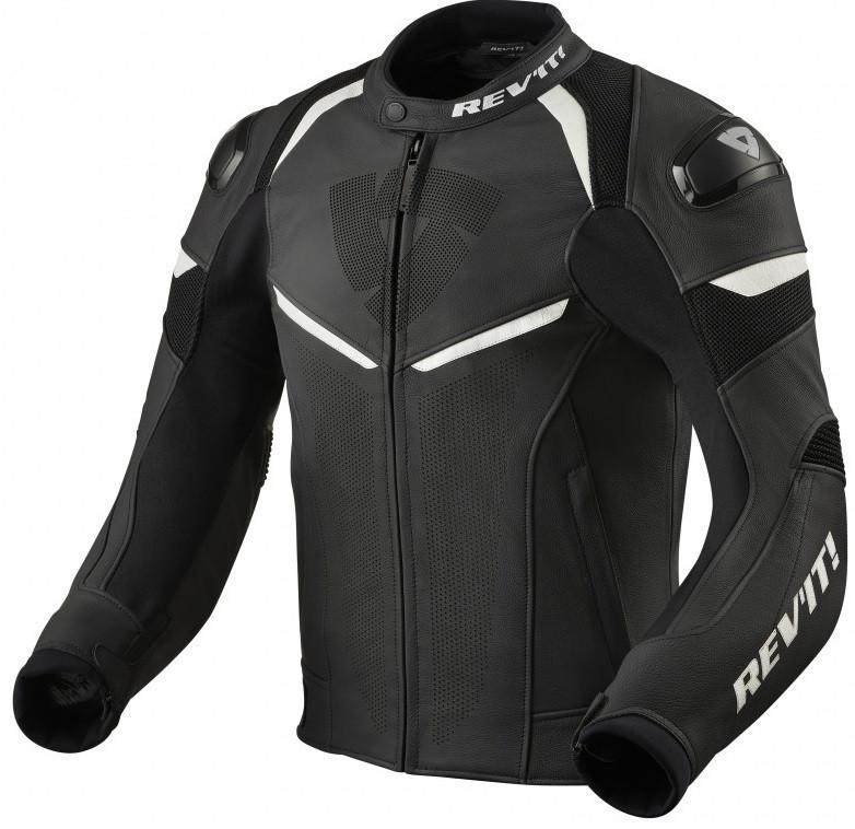 Мотокуртка кожа/текстиль Revit Convex черный/белый, 52