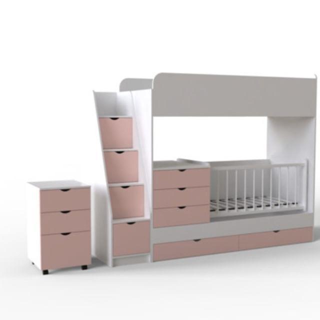 Дитяче ліжко-горище Art-In-Head МЕЛОДІЯ АЛД-17 білий супермат+рожевий