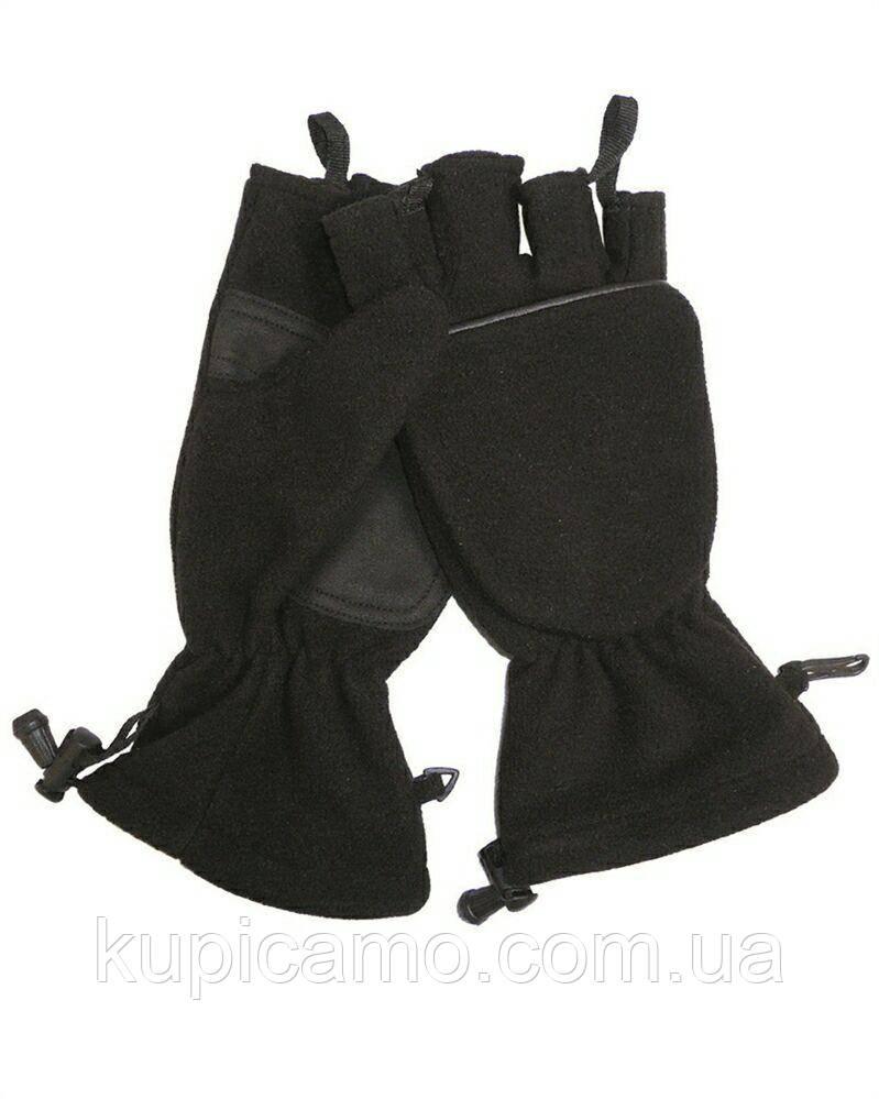 """Складные перчатки-варежки из теплого флисового материала windstopper -30 черный """"MilTec"""" Германия"""