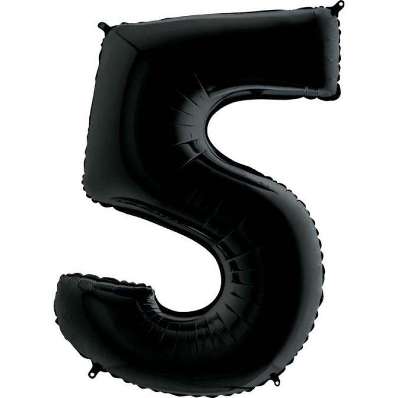 Фольгована цифра 5 Чорна 1 метр 1649
