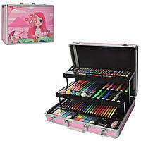 Набор для творчества MK 2459(Pink) Розовый 3 яруса, фломастеры, карандаши,.крас, в чемод,38-29-10см