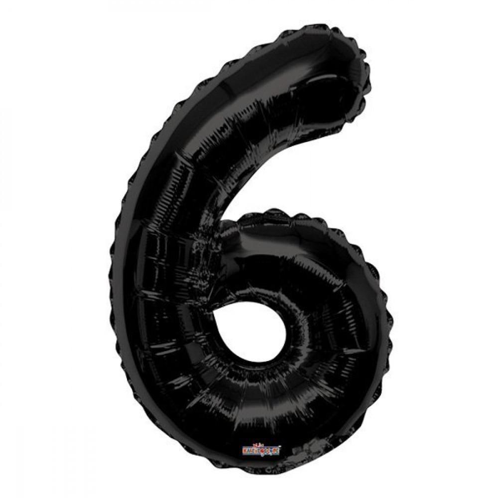 Фольгированная цифра 6 Черная 1 метр 1650