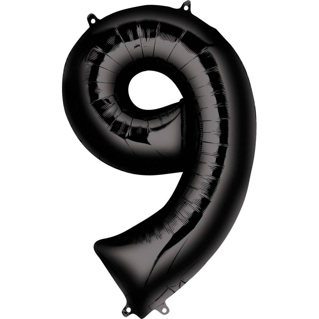 Фольгована цифра 9 Чорна 1 метр 1653