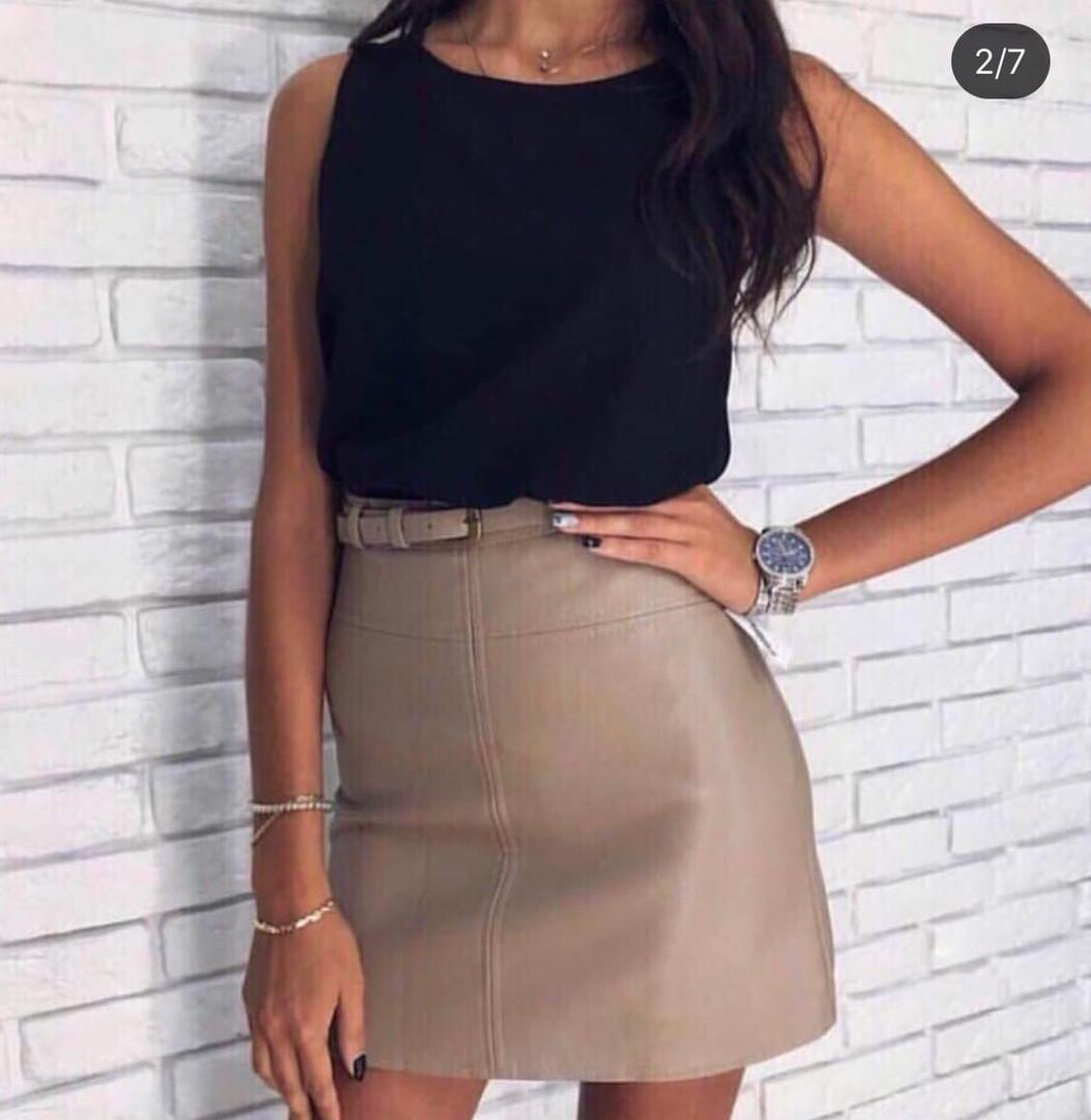 Купить черную юбку карандаш из экокожи. Мод. №29 (кожа) | 1080x1052
