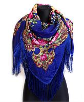 Народный платок Анна 120х120 см синий, фото 1
