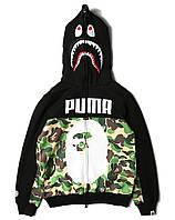 Худи Bape x Puma с принтом мужской женский толстовка на молнии