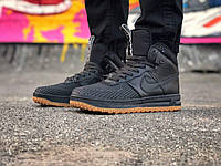 Мужские  кроссовки найк лунар  Nike Lunar Force 1 Duckboot 2017 черные (реплика +ААА)