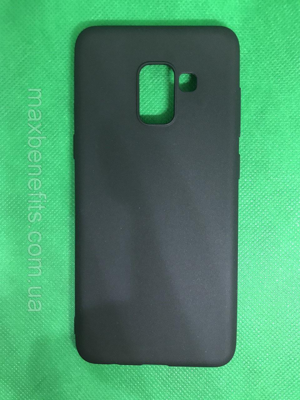 Samsung Galaxy A8 2018 (A530F) черный матовый силиконовый ультратонкий чехол/ бампер/ накладка